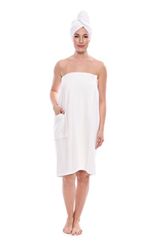 Women's Towel Wrap - Bamboo Viscose Spa Wrap Set by Texere (The Waterfall, Natural White,...