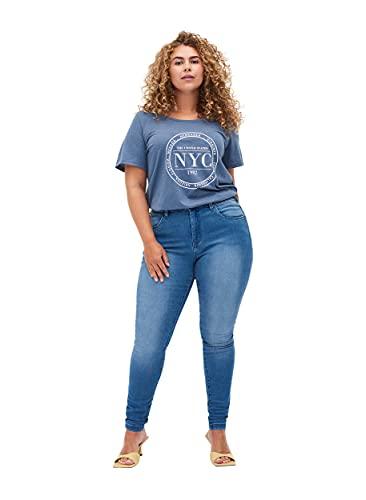 Zizzi Amy Damen Jeans Super Slim Jeanshose Stretch Hose Große Größen 50 / 78 cm Blau