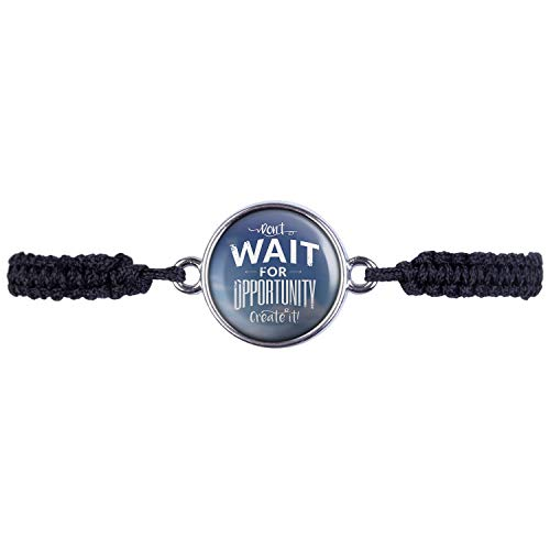 Mylery Bracelet with motivation quote Dont Wait for Opportunity Create It Silver or Bronze 16 mm silver