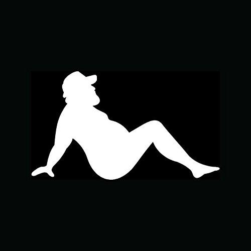 CMI353 MUD Flap Man Sticker Funny Trucker Vinyl Decal Fat Joke Mudflap Sexy Car Window | White Vinyl Decal