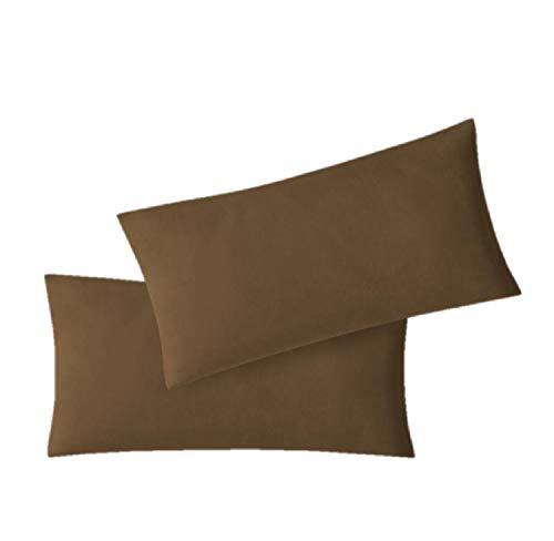EXKLUSIV HEIMTEXTIL Fundas de Almohada de Jersey 2 Pack económico con Cremallera 40 x 80 cm marrón Chocolate