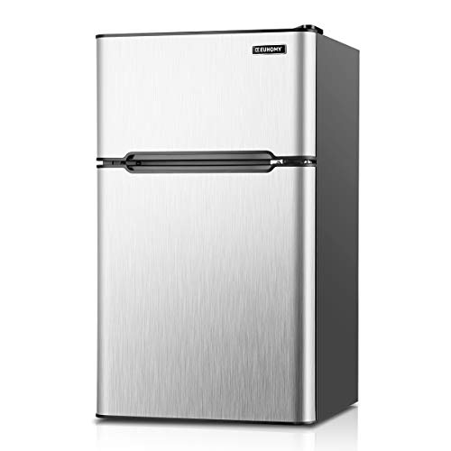 Euhomy Mini Fridge with Freezer, 3.2 Cu.Ft Compact Refrigerator with freezer, 2 Door Mini Fridge with freezer, Upright for Dorm, Bedroom, Office, Apartment- Food Storage or Drink Beer, Silver