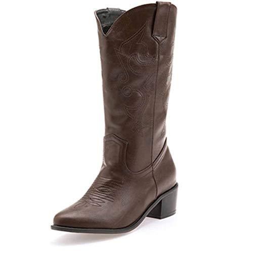 Vrouwen Hoge Hakken Cowboy Laarzen Mid-Calf westernlaarzen Chunky Heel Stijlvolle Pluche Warm Waterdicht Niet Slip Biker Combat Laarzen