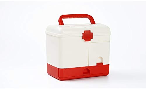 LLDKA Medicine kast met opbergdoos, de multifunctionele kits, familie camping meerlaagse plastic EHBO-kit,Rood