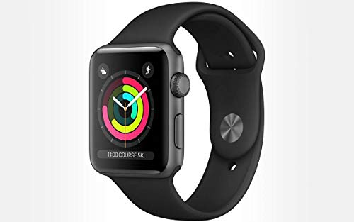 Apple Watch Series 3 38mm (GPS) - Space Grey Aluminium Case with Black Sport Band (Renewed)