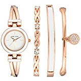 Anne Klein Women's Swarovski Crystal Accented Rose Gold-Tone Bangle Watch and Bracelet Set, AK/3284WRST