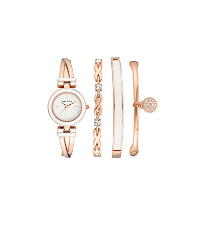 Anne Klein Women's Swarovski Crystal Accented Rose Gold-Tone Bangle Watch and Bracelet Set, AK/3284WRST