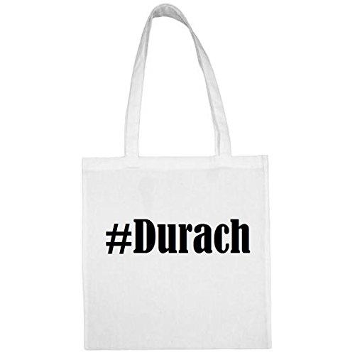 Tasche #Durach Größe 38x42 Farbe Weiss Druck Schwarz