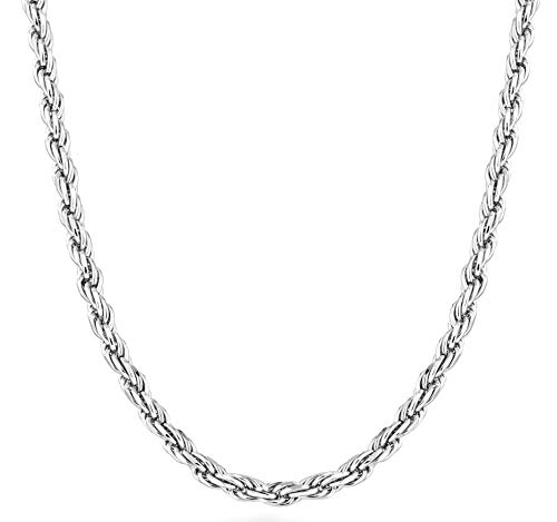 Miabella Solid 925 Sterling Silver Italian 2mm, 3mm Diamond-Cut Braided Rope Chain Necklace for Men Women Made in Italy 16, 18, 20, 22, 24, 26, 28, 30 Inch (18, 3mm)