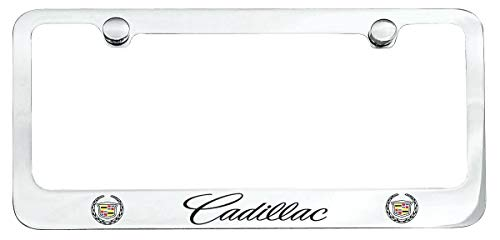 Almoo Stainless Steel Metal CTS ATS XT5 Escalade License Plate Frame Cover Holder W/Bolt Caps for Cadillac (1)