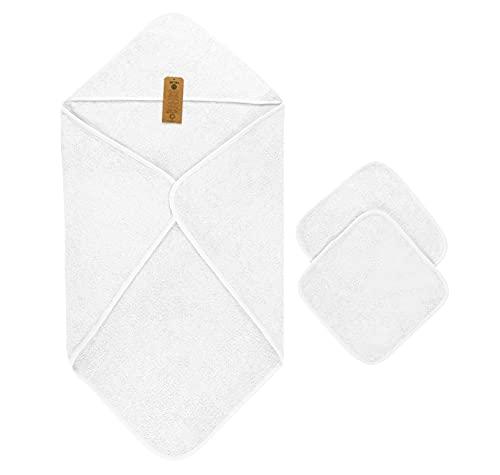 Capa de Baño de Bebé, 100% Algodón orgánico, (90x90 cm) y 2 Toallas (30x30 cm), Blanco