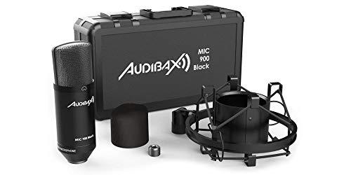 Audibax MIC900, Micrófono Condensador, Patrón Polar Cardioide, adecuado para Estudio de Grabación o Directos, Micrófono Profesional de Gran Diafragma, Incluye Maleta y Capuchón Cortavientos