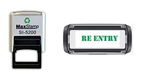 Re-Entry Hand Stamp - Suitable for Festivals, Parties, Pubs, Special Events - Exhibitions self Inking Green Stamp 28 x 6mm