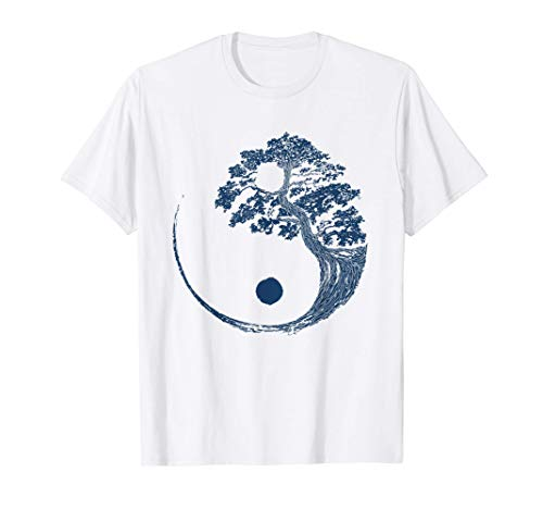 Yin Yang Blue Bonsai Tree Japanese Buddhist Zen Gift T-Shirt