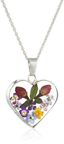 Sterling Silver Multicolor Pressed Flower Heart Pendant Necklace