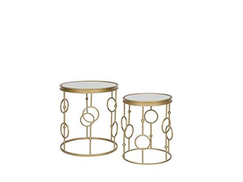 Stilvolles Beistelltisch Set 2er Set Spiegel/Gold Carmel