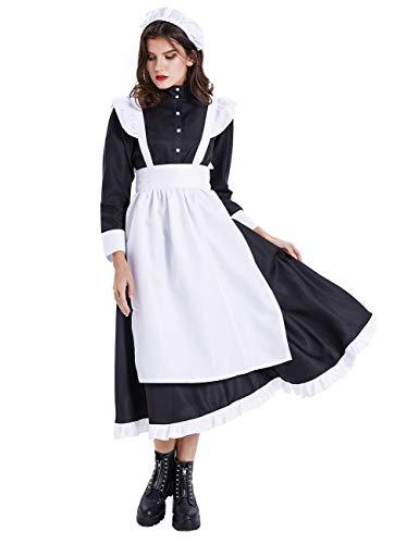 ShiyiUP Vintage Dienstmädchen Kostüm Maid Schürze Kleid Damen Lolita Kleider für Halloween Obtoberfest Karneval Party ,Damen 1#,L