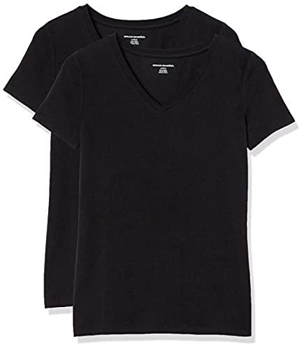 Amazon Essentials Women's 2-Pack Classic-Fit Short-Sleeve V-Neck T-Shirt, Black, Large