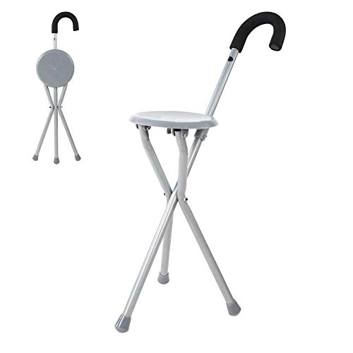 LIPENLI Travel Cane Chair, Metal Portable Folding Walking Stick Chair Seat Stool