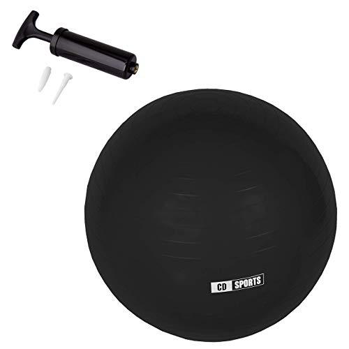 CalmaDragon Pelota de Pilates 55cm / 65cm / 75cm Diámetro, Balón para Embarazadas, Fitball, con Inflador Incluido, Bola Grande para Yoga, Gimnasia, Fitness (Negra, 65)