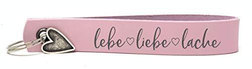 Schlüsselanhänger schmal Leder - lebe Liebe Lache - rosa