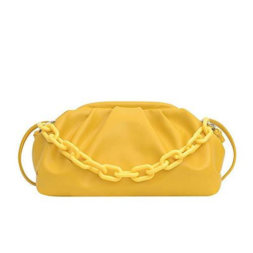 Bolsos de Mujer Cuero de PU Bolso con asa Superior Bolso Fruncido Bolsos con Cadena Diario Blanco Negro Azul Amarillo