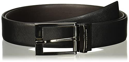 ARMANI EXCHANGE Leather Belt with Plaque Cintura, Nero (Black/Dark Brown 54120), No Aplica (Taglia Produttore: TU) Uomo