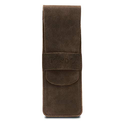 Londo Genuine Leather Pen and Pencil Case with Tuck in Flap (Mink) (OTTO288)
