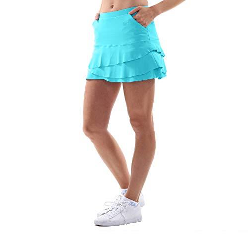 Sportkind Mädchen & Damen Tulip Tennis, Hockey, Golf Skort, Rock mit Taschen & Innenhose, atmungsaktiv, UV-Schutz, türkis, Gr. 140