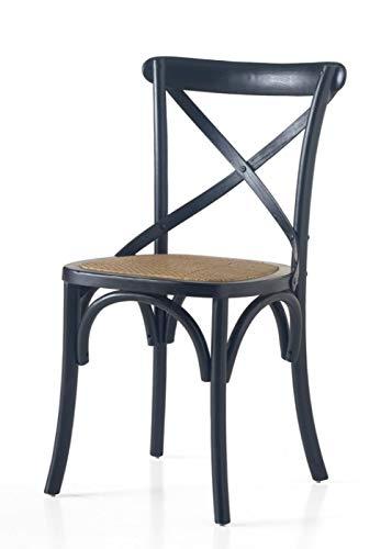 Chaise en bois couleur noir avec assise en rotin.