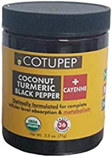 COTUPEP -Organic Turmeric Black Pepper and CAYANNE Health Drink Mix Boosts Metabolism - 2.5 OZ JAR