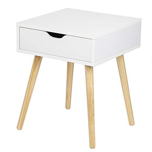 EUGAD 0076ZZ Nachttisch Beistelltisch mit Schublade Nachtkommode Nachtschrank Holzbeine MDF 40x40x50cm Weiß