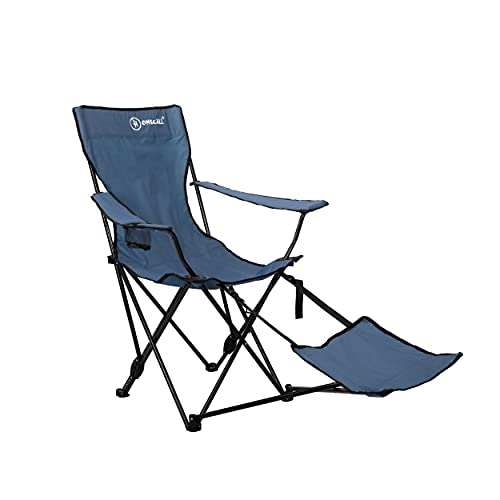 Homecall Camping folding chair 600D polyester with feetrest adjustable backrest blue