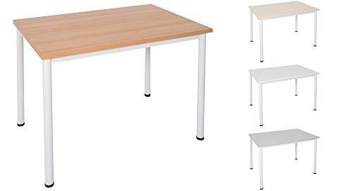 Dila GmbH Schreibtisch/Besprechungstisch in verschiedenen Größen und Farben weißes Metallgestell Konferenztisch Arbeitstisch (B: 120 cm x T: 80 cm,...