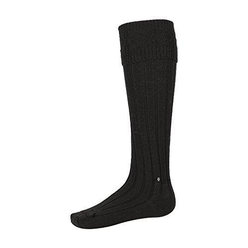 The Scotland Kilt Company Neu Schottisch Herren Schottenrock Schlauch Socken - Schwarz Neu Schottisch Wollmischung - 3 Größen - Schwarz, Large (11-13)