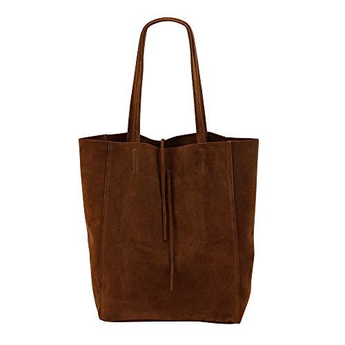 SH Leder ® Damen Echt Wildleder Shopper mit Innentasche in vielen Farben Schultertasche Henkeltasche 37x29cm Katrin G261 (Braun)