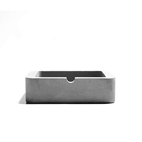anaan Cenicero Hormigon Concreto para Cigarrillos o Puros Mesa Decoración Interior y Exterior Moderno Geométrico Diseño (Cuadrado 9x9x3cm)