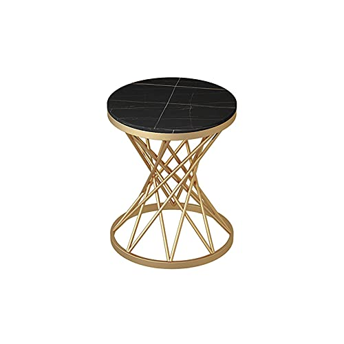 ACUIPP Modern Accent Sofa Side Table,Snack Table End Table Black & White Marble Round Table with 2 Different Patterns Round Indoor Coffee Table with Stable Iron Frame,Black-A,50 * 50 * 60Cm
