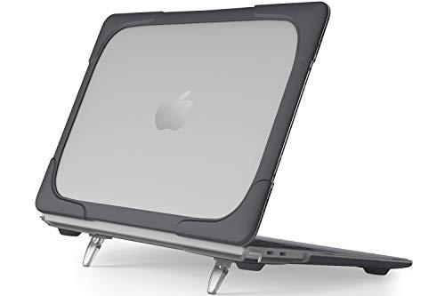 """ProCase Carcasa Transparente con Soporte para MacBook Air 13"""" M1 2020 2019 2018 A2337 A1932 A2179, Funda Rígida de Capa Doble Translúcida con Pata Plegable para MacBook Air 13 Pulgadas -Negro"""