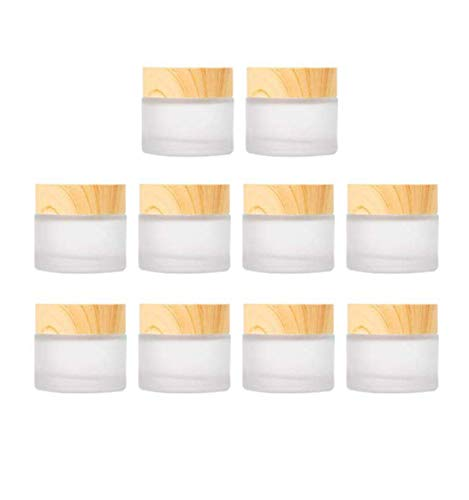 Healthcom 10 Pcs 5 Grams/5 ML Frosted Glass Cosmetic Cream Jars Bottle Vials with Wood Grain Lid Lotion Jars Empty Cosmetic Comtainers Refillable Face Cream Pot for Makeup Lip Balm Eyeshadow