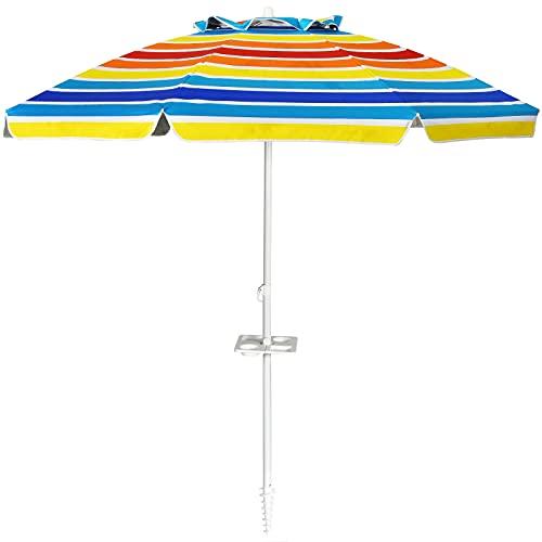 COSTWAY Ombrellone da Spiaggia 2,2 m, Ombrellone Tondo con Protezione Solare, Ombrellone Portabile con Borsa di Trasporto (colorato)