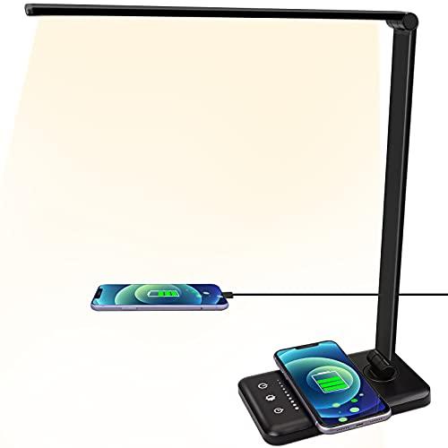 Lámpara de escritorio LED con cargador inalámbrico, 5 colores y 5 niveles de brillo, respetuosa con los ojos, conexión USB, lámpara de mesa para niños [Clase energética A++] (Negro)