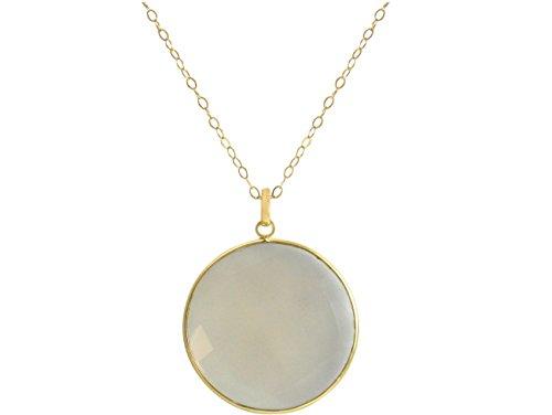 Gemshine - Damen - Halskette - 925 Silber - Vergoldet - Mondstein - Grau - CANDY - 80 cm