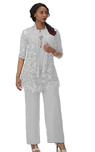 Spitze Mutter der Braut Hosenanzug Kleid 3 Stück Elastische Taille Hosen Set für Hochzeitsgäste - Silber - 34