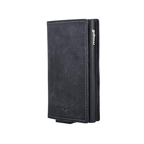 mogdi Nano Black Premium Herren Portmonee RFID Schutz Kartenetui Business Geldbörse feinstes A++ Echtleder Wallet Geldbeutel (schwarz)