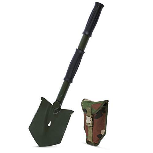 REDCAMP Klappspaten, Klappbar Multifunktional Klappschaufel, Tragbar Rostfrei Spaten, Tactical Shovel für Überleben Garten Camping Surviva Outdoor, Grün 2.2lbs