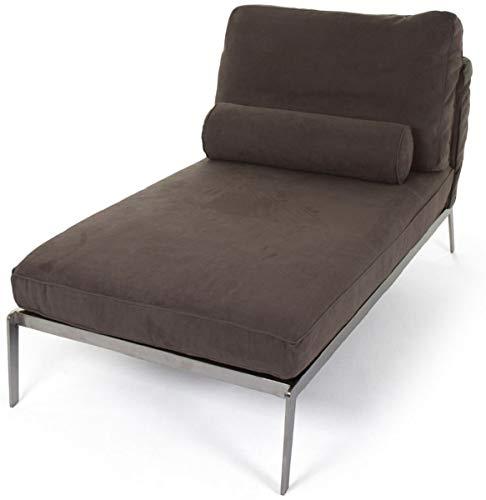 Casa Padrino Chaise Longue de Gamuza de Lujo marrón/Plata 160 x 80 x A. 85 cm - Salón de Cuero Nobuck Tumbona de Relax con Almohadas - Muebles de salón de Lujo