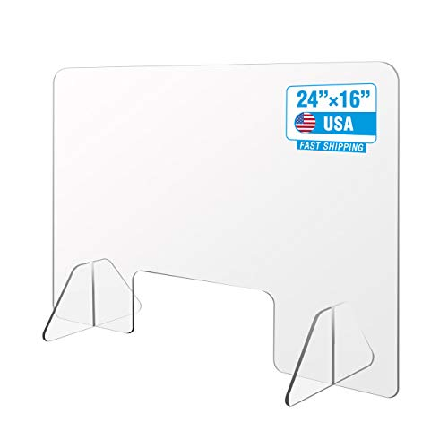 Joykey Acrylic Plexiglass Sneeze Guard : 24'W× 16' H Protection Barrier and Shield for Desk and Counter with Transaction Window