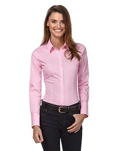 Vincenzo Boretti Damen Bluse besonders tailliert mit Stretch Langarm Hemdbluse elegant festlich Kent-Kragen auch für Business und unter Pullover pink 36
