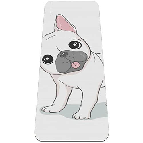 6mm Extra Thick Yoga Mat, French Bulldog Head Print Eco-Friendly TPE Exercise Mats Pilates Mat with for Yoga, Workout, Core Fitness and Floor Exercises, Men & Women